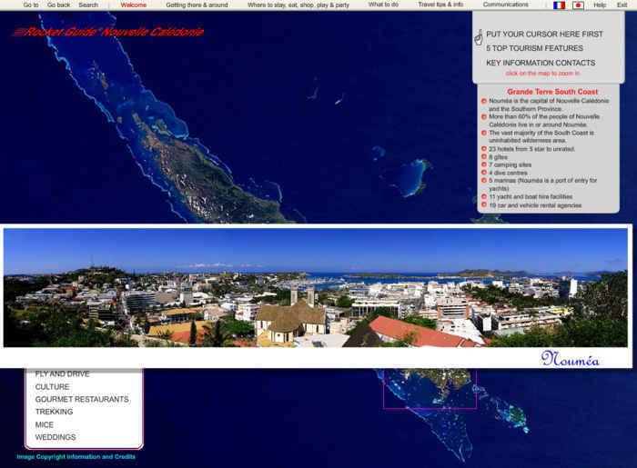 Rocket Travel Guide to New Caledonia Menu Navigation